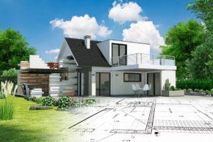 Rendering eines Neubaus mit Bauplan