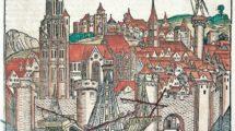 """Treviso_(Veneto,_Italien).__-_""""Tarvisium""""._-___(Stadtansicht._Idealisierte_Stadtansicht_von_Magdeburg,_zugleich_für_Paris_und_Treviso_benutzt).___Holzschnitt,__koloriert.___Aus:_Hartmann_Schedel,_Liber_chronicarum_(Weltchronik),_Nürnberg_(A.Koberger)_1493"""