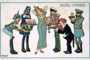 """_Neutralität_Italiens_bis_23._Mai_1915.__""""Inutili_offerte"""".__(Karikatur_auf_die_Angebote_der_kriegführenden_Mächte_an_Italien)._Italienische_Bildpostkarte_(Farblithographie_nach_Zeichnung_von_A.Bertiglia)."""